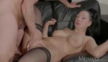 Very flexible brunette hottie rides huge cock as a real pro whore